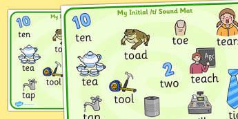 Initial t Sound Mat - t, t sound, sounds, letters, sound mat, aid
