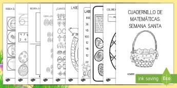 Cuadernillo de matemáticas: Semana Santa - pascua, semana santa, cuadernillo, mates, matemáticas, colorear, pintar, colores, color, sumar, con