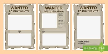 Blank Wanted Posters English/Polish - role play, EAL,translation, wild west, blank, wanted, posters, display,