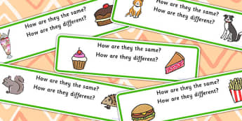 How Are They The Same How Are They Different Activity Cards