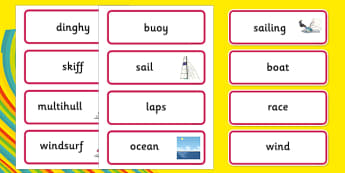 Rio 2016 Olympics Sailing Word Cards - Sailing, Olympics, Olympic Games, sports, Olympic, London, 2012, word card, flashcards, cards, activity, Olympic torch, events, flag, countries, medal, Olympic Rings, mascots, flame, compete