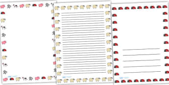 Page Borders to Support Teaching on What the Ladybird Heard - what the lady bird heard, page borders, borders, themed page borders, writing frames, writing templates, writing aid