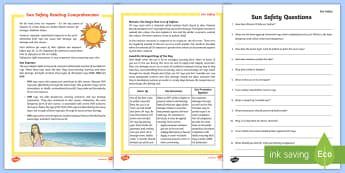 Sun Safety Reading Comprehension Activity - sun, safety, reading