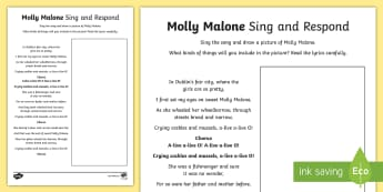 Molly Malone Activity Sheet - Irish Music, traditional Irish music, Molly Malone, Dublin, Ireland, song, Worksheet, responding to