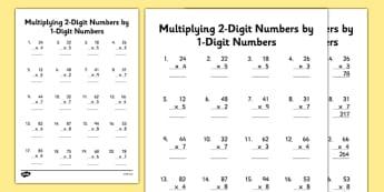 Multiplying 2-Digit Numbers by 1-Digit Numbers Activity Sheet - multiply, times, maths, 2 digit, 1 digit, worksheet