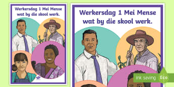 Suid-Afrika Werkersdag 1 Mei  Display Poster - South Africa Worker's Day 1st May, 1 Mei, Werkersdag, werkers, skool