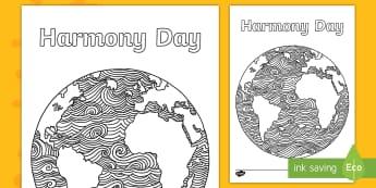 Harmony Day Earth Mindfulness Colouring Page - Harmony Day - Australia 21st March, Australia