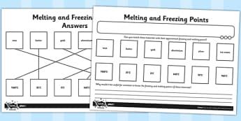 Activity Sheet Melting and Freezing Points - melting, freezing, points, worksheet