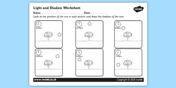 Light and Shadow Worksheet - light and shadow, light and dark, how shadows are cast, shadows worksheet, draw the shadows, ks2 science, shadows activity