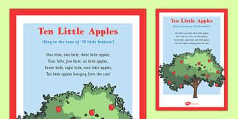 Ten Little Apples Rhyme - autumn, rhyme, music, eyfs, early years, ten, little, apples