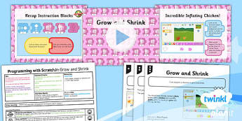 PlanIt - Computing Year 1 - Programming with ScratchJr Lesson 2: Grow and Shrink Lesson Pack - code, coding, programming, algorithms