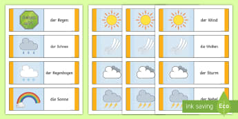 Types of Weather Card Game German - German Games, German activities, German weather, German card games, self-correcting card games.,Scot