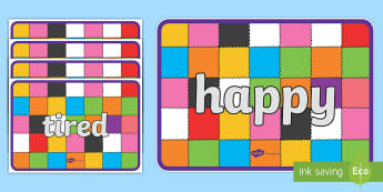 Emotion Words Display Posters to Support Teaching on Elmer - elmer, elmer posters, elmer emotions posters, elmer emotion words, emotion words, PSHE, emotions, elmer display