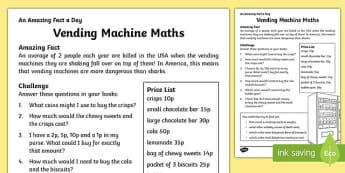 Vending Machine Maths Activity Sheet, worksheet