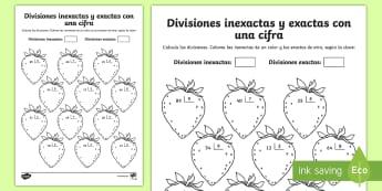 Ficha de actividad: Colorear por divisiones inexactas y exactas con una cifra - fresas - dividir, división, repartir, cifras, divide, division, sharing, figures, digits, escrito, escrita,