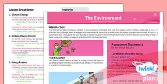 PlanIt - Science Year 2 - The Environment Planning Overview - planit, science, year 2, planning, overview