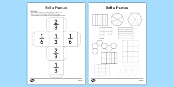 Roll a Fraction: Third, Two Thirds, Sixth - Fraction, third, two thirds, sixth, equivalent fractions