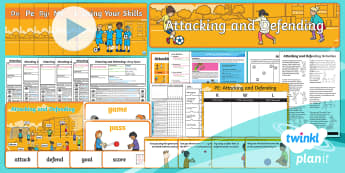 PlanIt - PE Year 1 - Attacking and Defending Unit Pack - Attacking and Defending, pe, sports, banner, word cards, lessons, powerpoint, plans, planning, year