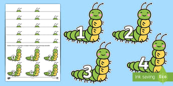 Numbers 0-31 to Support Teaching on The Very Hungry Caterpillar Cut-Outs - The Very Hungry Caterpillar Numbers 1-10 - EYFS, planning, Eric Carle, caterpillar, butterfly, lifec