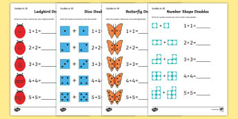 * NEW * Doubles to 20 Activity Sheets - Doubles to 10 Activity Sheets - maths, numeracy, new zealand, doubles, 10, ten, up to, adding, addit