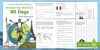 Around the World in 80 Days KS2 Activity Booklet - cycling, challenge, Mark Beaumont, guinness, world record, project