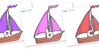 Phase 2 Phonemes on Sailing Boats to Support Teaching on Where the Wild Things Are - Phonemes, phoneme, Phase 2, Phase two, Foundation, Literacy, Letters and Sounds, DfES, display