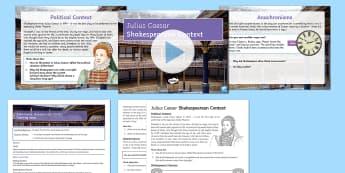 Julius Caesar   Shakespearean Context Lesson Pack - Julius Caesar, Elizabeth I, politics, context