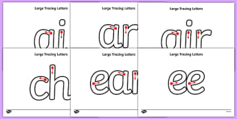 Large Phase 3 Tracing Letters - tracing letters, phase 3, phase three, handwriting, letter formation, writing practice, foundation, letters, writing, learning to write, DFES letters and sounds
