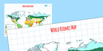 World Biomes Map - geography, maps, visual aid, countries, map