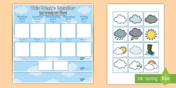 Weekly Weather Recording Chart Display Pack English/Hindi - Weekly Weather Recording Chart - weather, weather calendar, weekly weather calendar, weakly weather