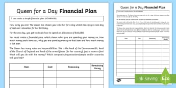 Queen for a Day Financial Plan Activity Sheet - ACMNA106, Queen, Queen's Birthday maths, financial plan, financial plans, budget, create a budget,