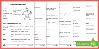 Little Red Riding Hood Playscript - KS1, English, playscripts, traditional tales, little red riding hood, drama, reading, play, script