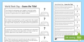 World Book Day Activity Sheet French - KS3, French, World Book Day, tales, books, journée mondiale livre, description, clothes, vetements,
