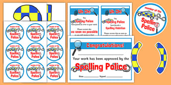 Spelling Police Pack - spelling police, spell, police, pack, resources