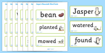 Word Cards to Support Teaching on Jasper's Beanstalk - Jasper, Jasper's Beanstalk, bean, sprayed, watered, word card, flashcards, cards, slugs, rake, found, beanstalk, planted, cat, dig, plant, waiting, story book, story, story resources