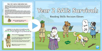 Year 2 SATs Survival: Reading Skills Revision PowerPoint 11 - SATs Survival Materials Year 2, SATs, assessment, 2017, English, SPaG, GPS, grammar, punctuation, sp