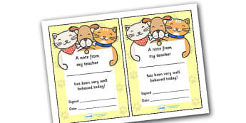 Note From Teacher Well Behaved Today (Cat Dog Themed) - note from teacher well behaved today, well behaved today, note from teacher, notes, praise, comment, note, teacher, teacher's, parents, well behaved, today, cat dog themed, cat, dog, themed