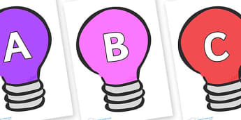 A-Z Alphabet on Lightbulbs (Multicolour) - A-Z, A4, display, Alphabet frieze, Display letters, Letter posters, A-Z letters, Alphabet flashcards