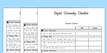 Digital Citizenship Student Checklist