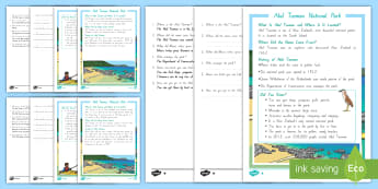 Abel Tasman Reading Comprehension Activity - Abel Tasman, reading comprehension, fact file, Aotearoa, my place, New Zealand