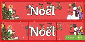 Banderole d'affichage: Le traîneau du Père Noël - Noël, Christmas, banderole, affichage, display, banner, panneau, French - Noël, Christmas, banderole, affichage, display, banner, panneau, French