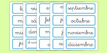 Etiquetas de los días de la semana y los meses del año - tarjetas, vocabulario, decoración, mural, ortografía