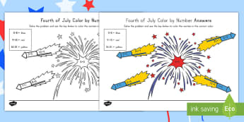 4th of July Color by Number Addition Activity Sheet - Independence Day, 4th July, July 4th, American Independence, worksheet, Color by Number, Math, 4th o