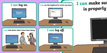ICT I Can Display Posters -  ICT, information and communications technology, computer, laptop, monitor, keyboard, mouse, pointer, arrows, backspace, enter, control, Caps Lock
