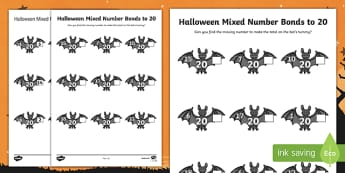 Halloween Themed Mixed Number Bonds to 20 Activity Sheet