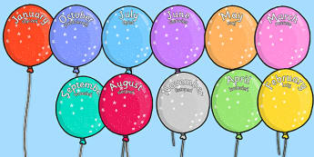 Editable Month Balloons Polish Translation - polish, editable, month, balloons, display