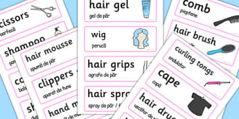 Hairdressers Word Cards Romanian Translation - romanian, word cards