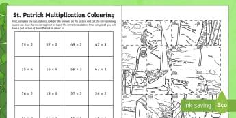 St. Patrick's Multiplication Colouring Activity Sheet - la feile padraig, Lá féile Pádraig, La Fheile Phadraig, lá le Phádraig, Northern Ireland, Ireland, Saint, Saint Patrick, St. Patrick, Multiplication, Maths Activity, Art ac