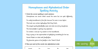 Homophones and Alphabetical Order Spelling Activity - activity