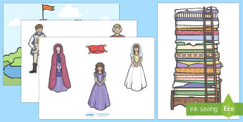 The Princess and the Pea Story Cut Outs - The Princess and the Pea, cut out, prince, queen, princess, pea, castle, fairytale, traditional tale, Hans Christian Andersen, story, story sequencing,